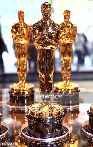 General view of Oscar statues at the 'Meet The Oscars' press preview display in New York City's Times Square Studios on February 15 2008