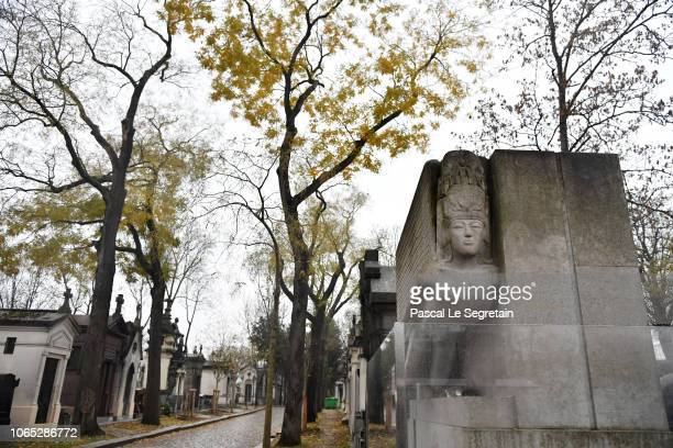 General view of Oscar Wilde's grave for The Happy Prince Photo Session on November 26 2018 in Paris France