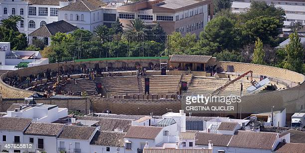 A general view of Osuna shows the bullring where extras and technician of HBO TV serie 'Game of Thrones' take part in shootings of the fifth season's...