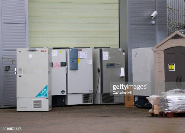 General view of out of service freezers outside The National Biosample Centre on April 03, 2020 in Milton Keynes, England. It has been reported that...