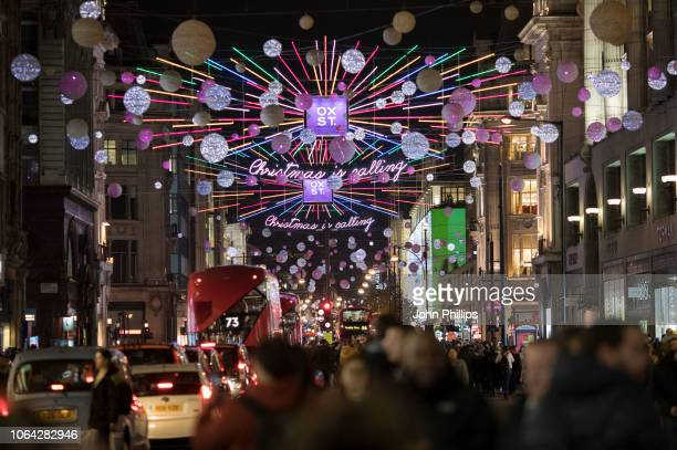 A general view of Oxford Street during the Oxford Street Christmas Lights switch on event at Oxford Street on November 06 2018 in London England