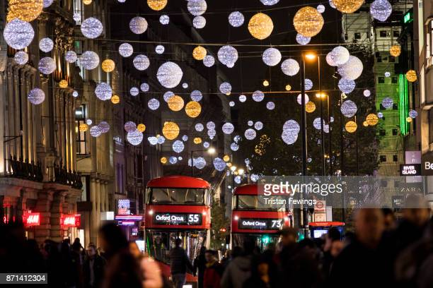 A general view of Oxford Street during the Oxford Street Christmas Lights switch On at Oxford Street on November 7 2017 in London England