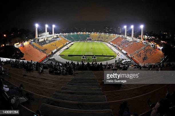 General view of Pacaembu Stadium during a match between Corinthians and Desportivo Táchira as part of Santander Libertadores Cup 2012 at Pacaembu...