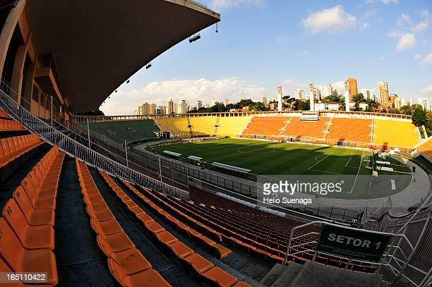 General view of Pacaembu Stadium during the match between Palmeiras and Linense as part of Paulista Championship 2013 at Pacaembu Stadium on March 30...