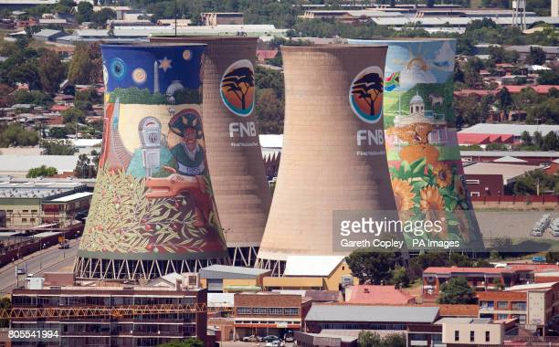 General view of Painted cooling towers as part of a competition ahead of next year's FIFA World Cup in Bloemfontein South Africa