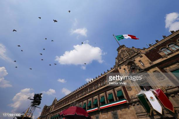 General view of Palacio Nacional during the Independence Day celebrations on September 15, 2020 in Mexico City, Mexico. This year El Zocalo square...