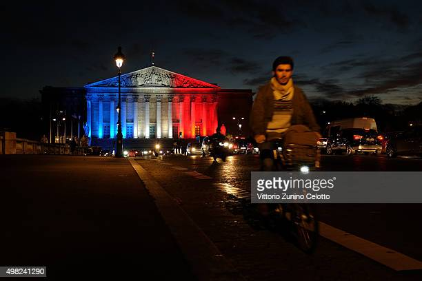 A general view of Palais Bourbon official seat of the National Assembly illuminated in Red White and Blue in honour of the victims of November 13th...