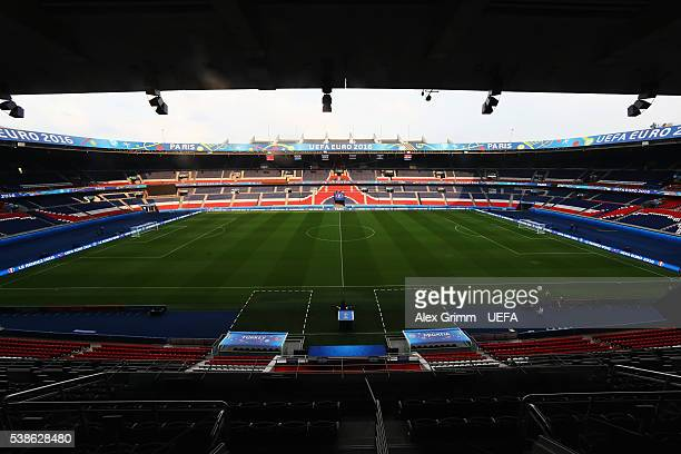 A general view of Parc des Princes stadium ahead of the UEFA Euro 2016 on June 7 2016 in Paris France