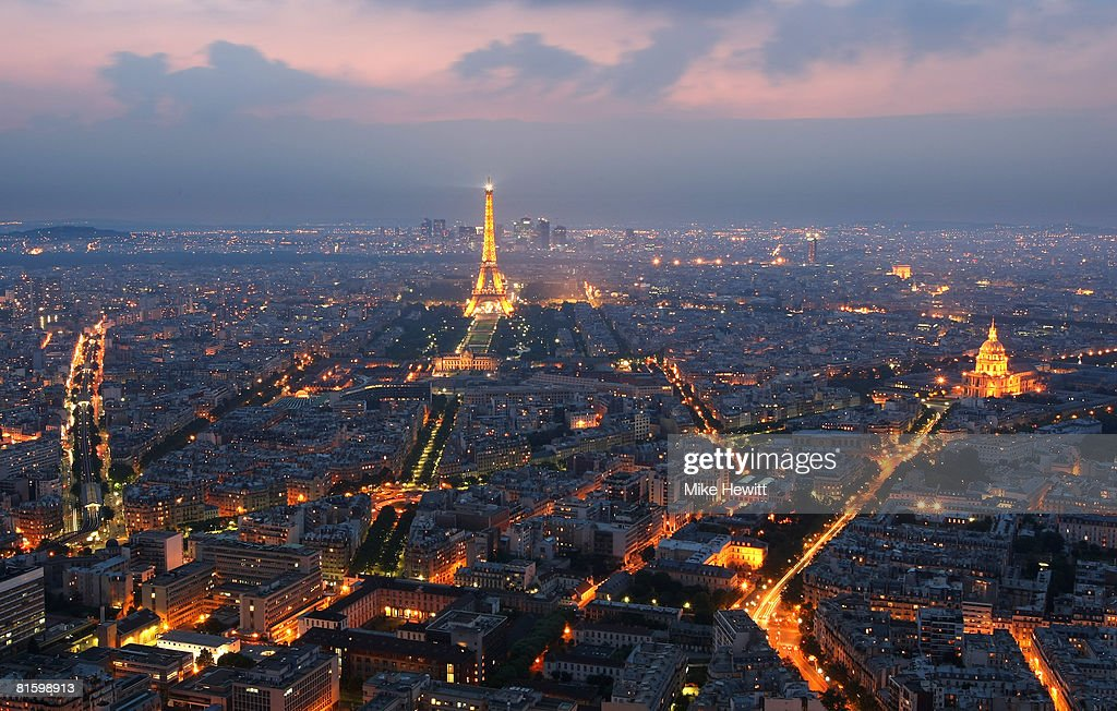 General view of Paris at dusk with the Eiffel Tower and the Hotel des Invalides prominent on June 10, 2008 in Paris, France.