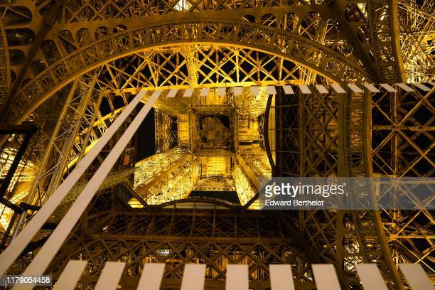 General view of Paris recadré by artist Daniel Buren during the Nuit Blanche 2019 Press Preview In Paris at the Eiffel Tower on October 04 2019 in...