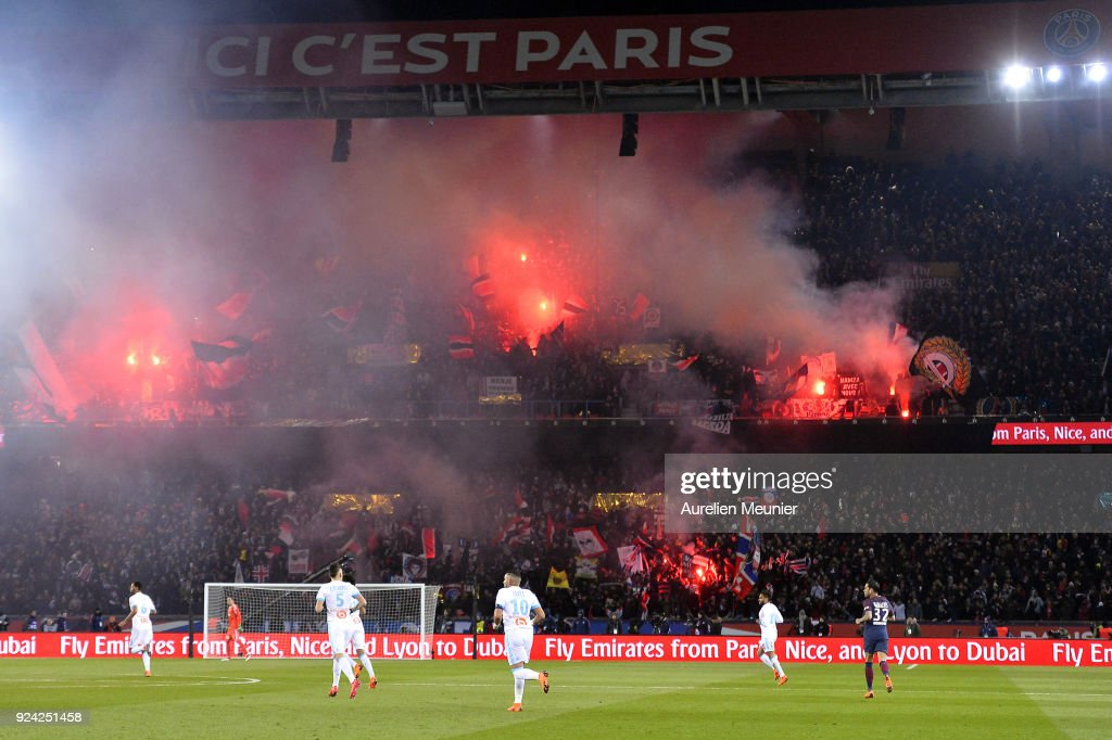 A general view of Paris Saint-Germain supporters cheer with flares during the Ligue 1 match between Paris Saint Germain and Olympique Marseille February 25, 2018 in Paris, France.