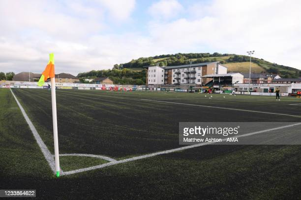 General view of Park Avenue Stadium the home of Aberystwyth during the UEFA Champions League First Qualifying Round match between Connahs Quay Nomads...