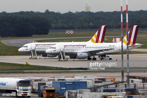 A general view of parked Germanwings planes during a nationwide 6hour strike by Germanwings pilots at Tegel Airport that grounded 116 flights on...