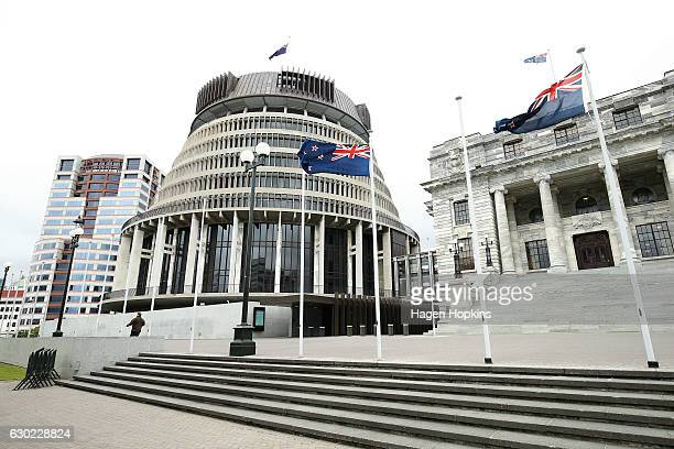 A general view of Parliament House and The Beehive after a press conference at Parliament on December 18 2016 in Wellington New Zealand Bill English...