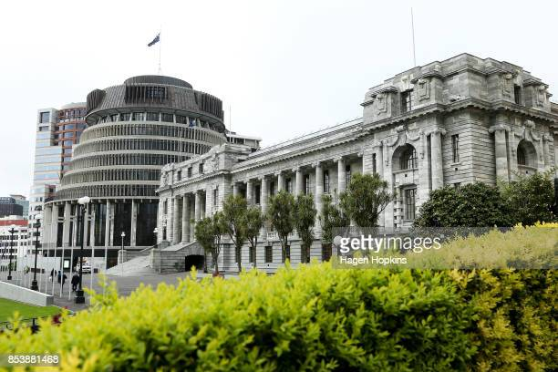A general view of Parliament House and the Beehive on September 26 2017 in Wellington New Zealand With results too close to call no outright winner...