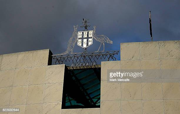 A general view of Parliament House on April 18 2016 in Canberra Australia Parliament has resumed early to debate the Government's Australian Building...