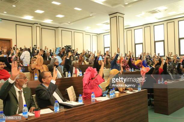 A general view of parliament is seen as members of parliament cast their votes for newly appointed Mohamed Hussein Roble during a vote of confidence...