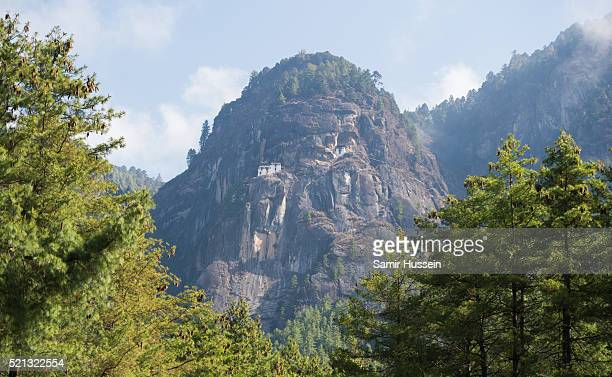A general view of Paro Taktsang the Tiger's Nest monastery on April 15 2016 in Paro Bhutan