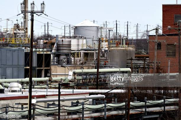 General view of part of the facilities of Dow Chemicals and Solvay USA Inc in Bristol Bucks County Pennsylvania on February 6 2019 Several companies...