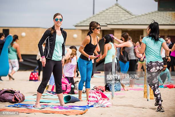 A general view of participants in line for the Tone It Up Beach Workout with Katrina Hodgson and Karena Dawn on May 13 2015 near the Hermosa Beach...
