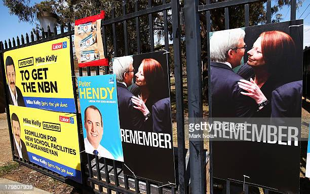 A general view of party advertising outside a polling booth at Karabar High School in the electorate of EdenMonaro on election day on September 7...