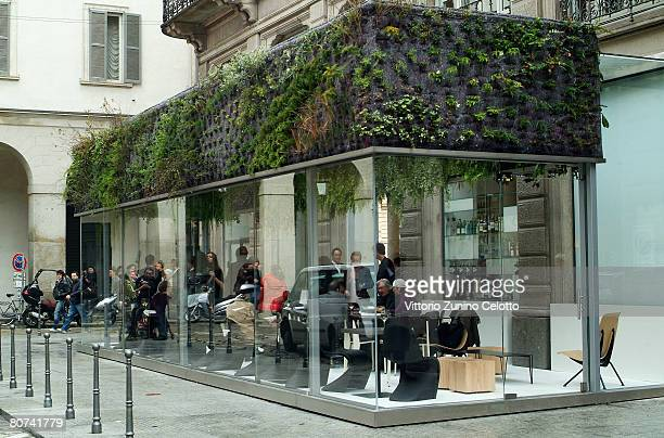 A general view of Patrick Blanc's 'Trussardi Cafe Unexpected Garden' on Paril 18 2008 in Milan Italy