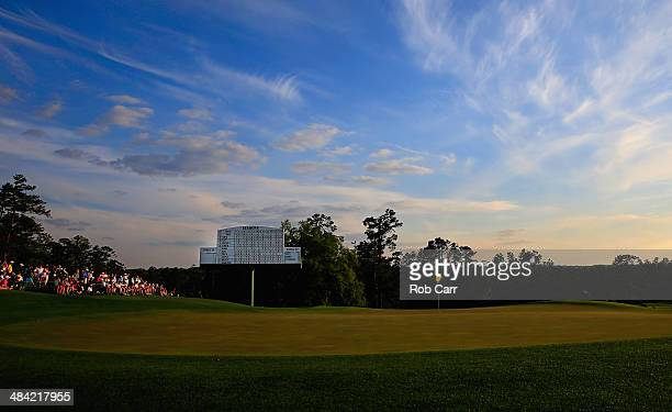 General view of patrons at the 18th green during the second round of the 2014 Masters Tournament at Augusta National Golf Club on April 11, 2014 in...