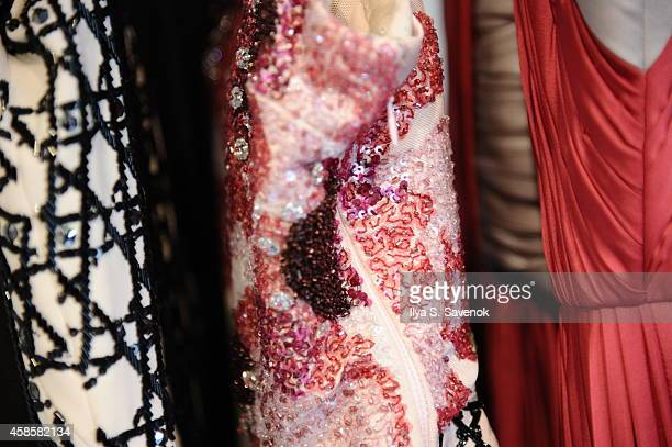 A general view of pattern detail of the Spring 2015 Collection at fashion designer Bibhu Mohapatra's studio on November 7 2014 in New York City in...