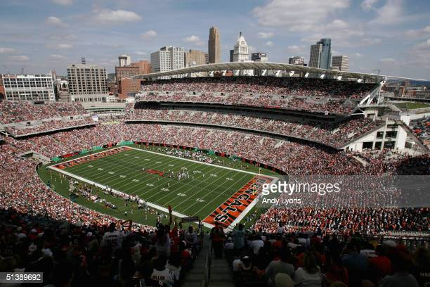 General view of Paul Brown Stadium during the game between the Baltimore Ravens and the Cincinnati Bengals on September 26 2004 in Cincinnati Ohio...