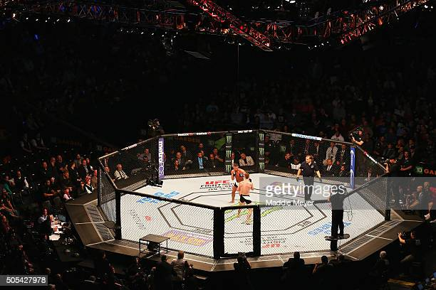 A general view of Paul Felder and Daron Cruickshank in their lightweight bout during UFC Fight Night 81 at TD Banknorth Garden on January 17 2016 in...