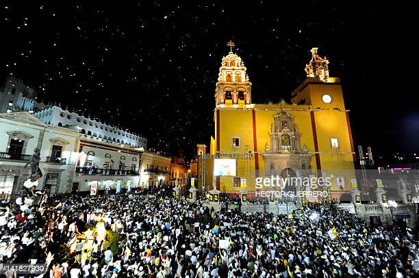 General view of Peace square in front of the basilica of Guanajuato in Guanajuato Mexico on March 24 during the visit of Pope Benedict XVI The Pope...