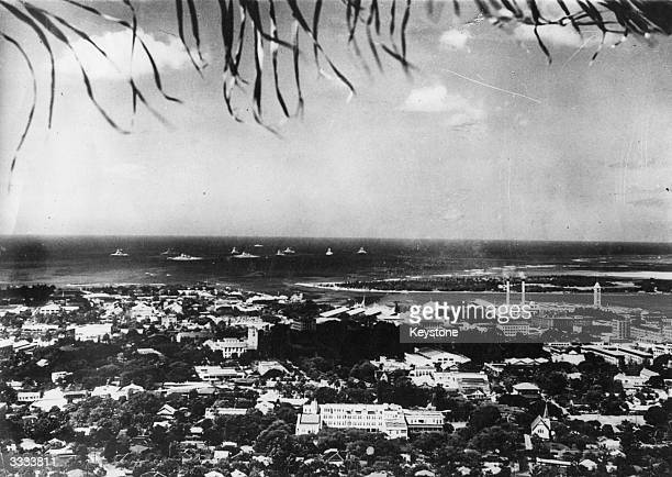 General view of Pearl Harbour, which was bombed by Japanese forces on 7th December 1941.