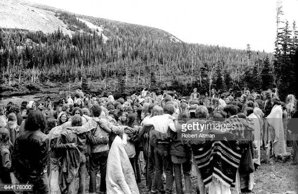 General view of people hugging during an Earth Faire on July 20 1970 in Boulder Colorado