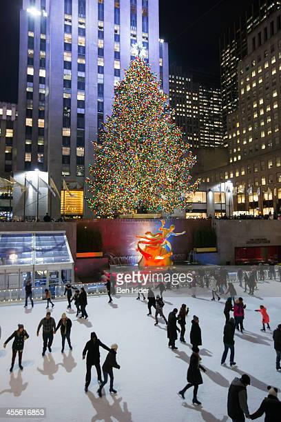 A general view of people ice skating at The Rink At Rockefeller Center infront of the holiday christmas tree on December 11 2013 in New York City