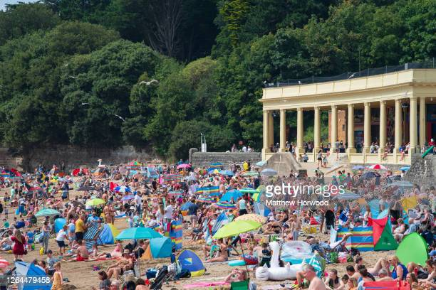A general view of people on the beach at Whitmore Bay Barry Island on August 7 in Barry Wales Forecasters have said Friday could be the hottest day...