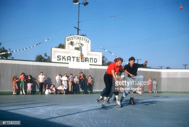 General view of people racing on roller skate circa November 1954 at the Westchester SkateLand in Westchester New York