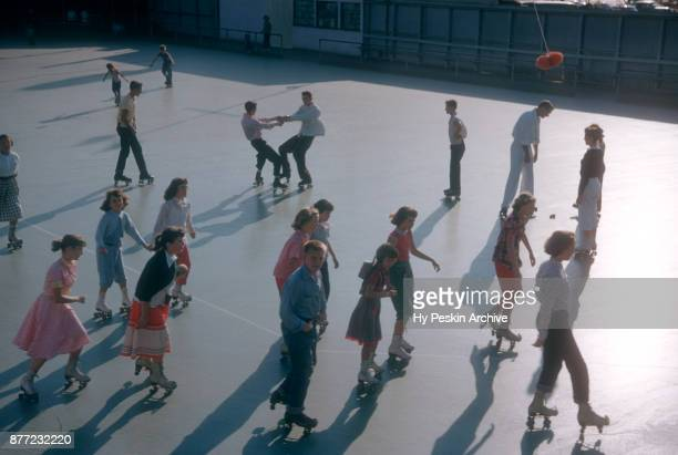 General view of people roller skating circa November 1954 at the Westchester SkateLand in Westchester New York