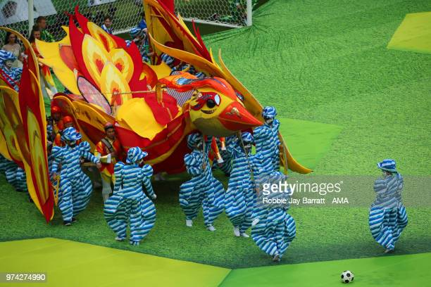 General View of performers at the opening ceremony prior to the 2018 FIFA World Cup Russia group A match between Russia and Saudi Arabia at Luzhniki...