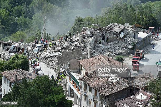 A general view of Pescara del Tronto town destroyed by the earthquake on August 24 2016 in Pescara del Tronto Italy Central Italy was struck by a...