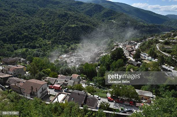 General view of Pescara del Tronto town destroyed by the earthquake on August 24, 2016 in Pescara del Tronto, Italy. Central Italy was struck by a...