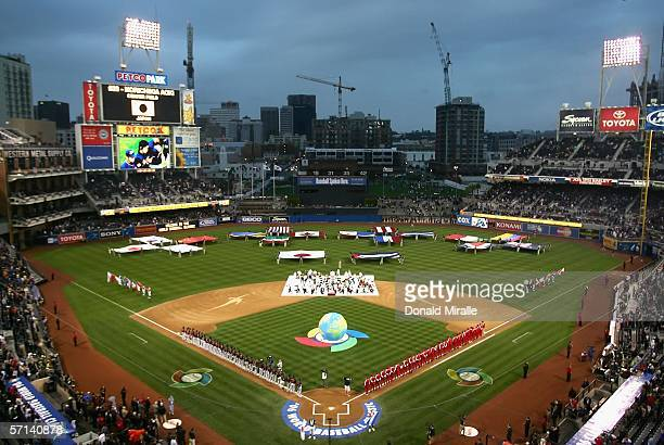 General view of Petco Park during team introductions before the Final game of the World Baseball Classic between Team Cuba and Team Japan at Petco...