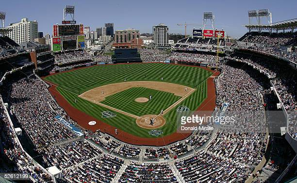 General view of Petco Park during the San Diego Padres game against the Pittsburgh Pirates during the 4th inning at Petco Park on April 10, 2005 in...