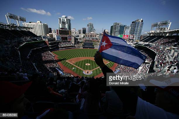 A general view of Petco Park while a Cuban flag waves as Japan takes on Cuba during the 2009 World Baseball Classic Round 2 Pool 1 match on March 15...