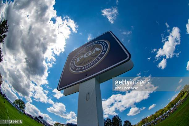 General view of PGA signage during Round One of the PGA Championship Tournament on May 16 at Bethpage State Park in Farmingdale, NY