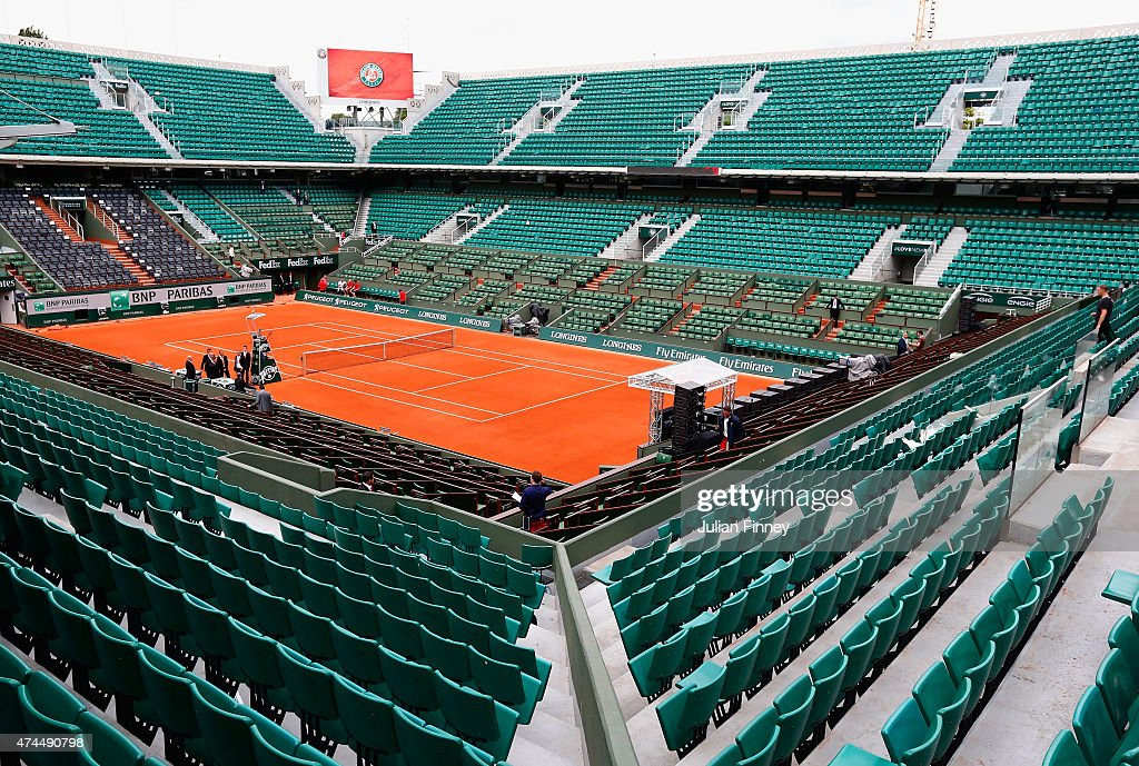 A general view of Philippe Chatrier court ahead of the 2015 French Open at Roland Garros on May 23, 2015 in Paris, France.