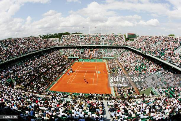 General view of Philippe Chatrier court as Serena Williams of United States of America takes on Milagros Sequera of Venezuela during the Women's...