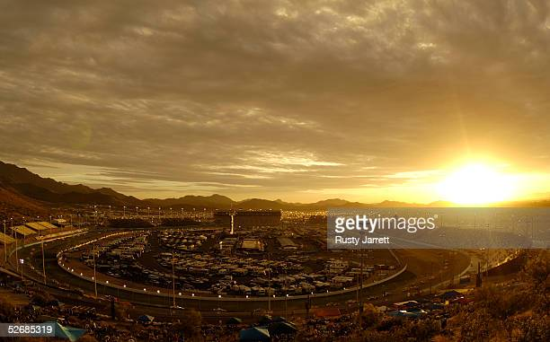 A general view of Phoenix International Raceway under the lights for the NASCAR Busch Series Bashas' Supermarkets 250 is seen on April 22 2005 at the...