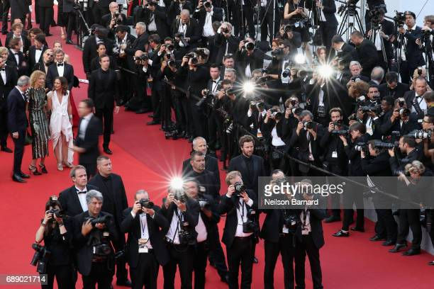 General view of photographers shoot on the red carpet during the 'Based On A True Story' screening during the 70th annual Cannes Film Festival at...