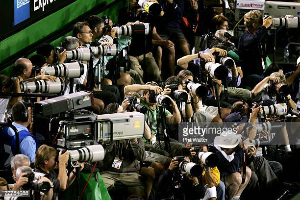General view of photographers shooting the women's final match between Serena Williams of the USA and Maria Sharapova of Russia on day thirteen of...
