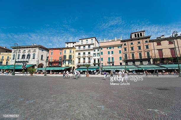 A general view of Piazza Bra in front of the Arena ahead of the evenings performance of 'Aida' on August 8 2010 in Verona Italy The city of Verona is...